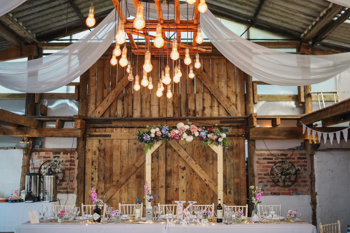 Hill top wedding barn
