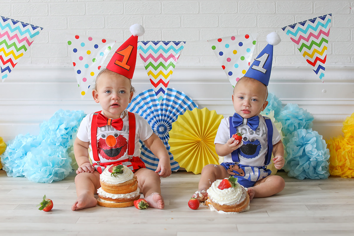 cake smash twins birthday hat