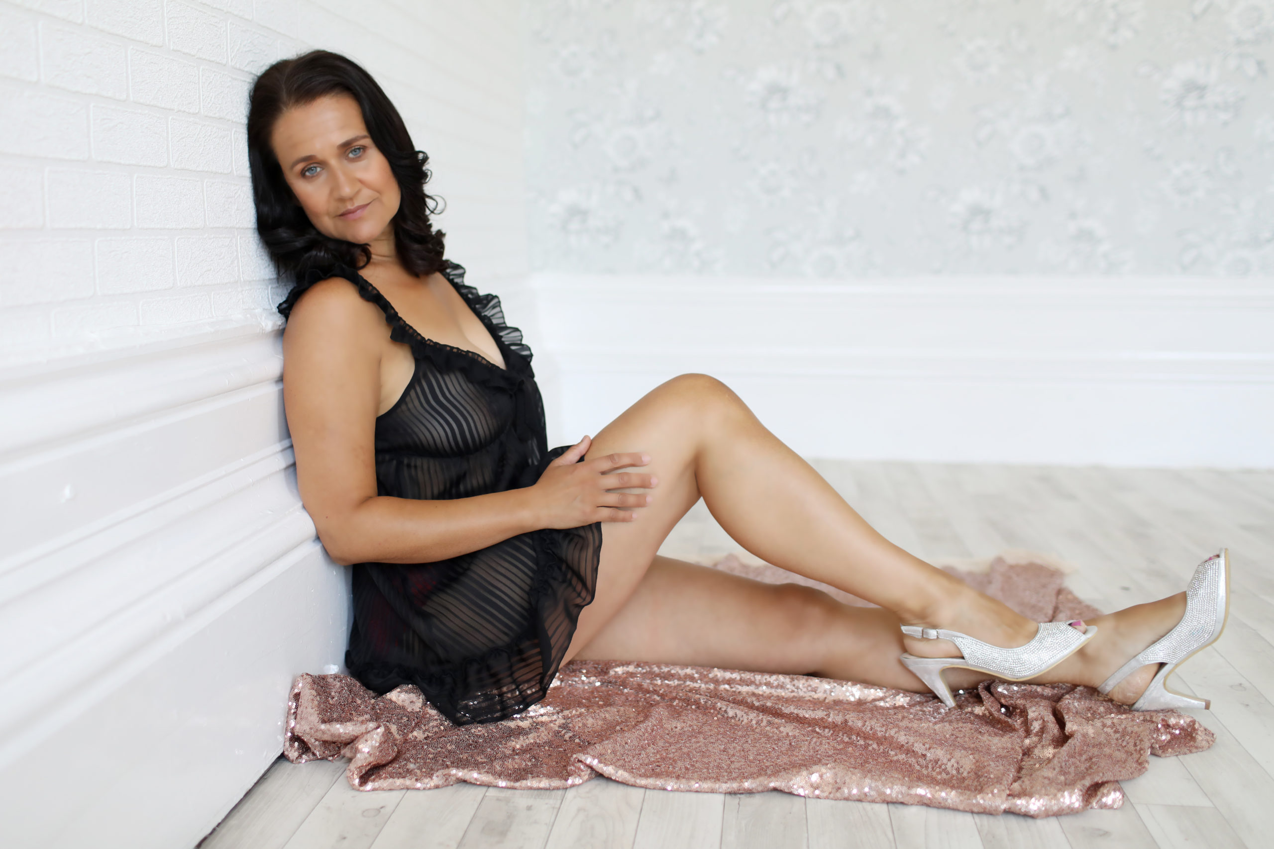 boudoir photography mature white shoes