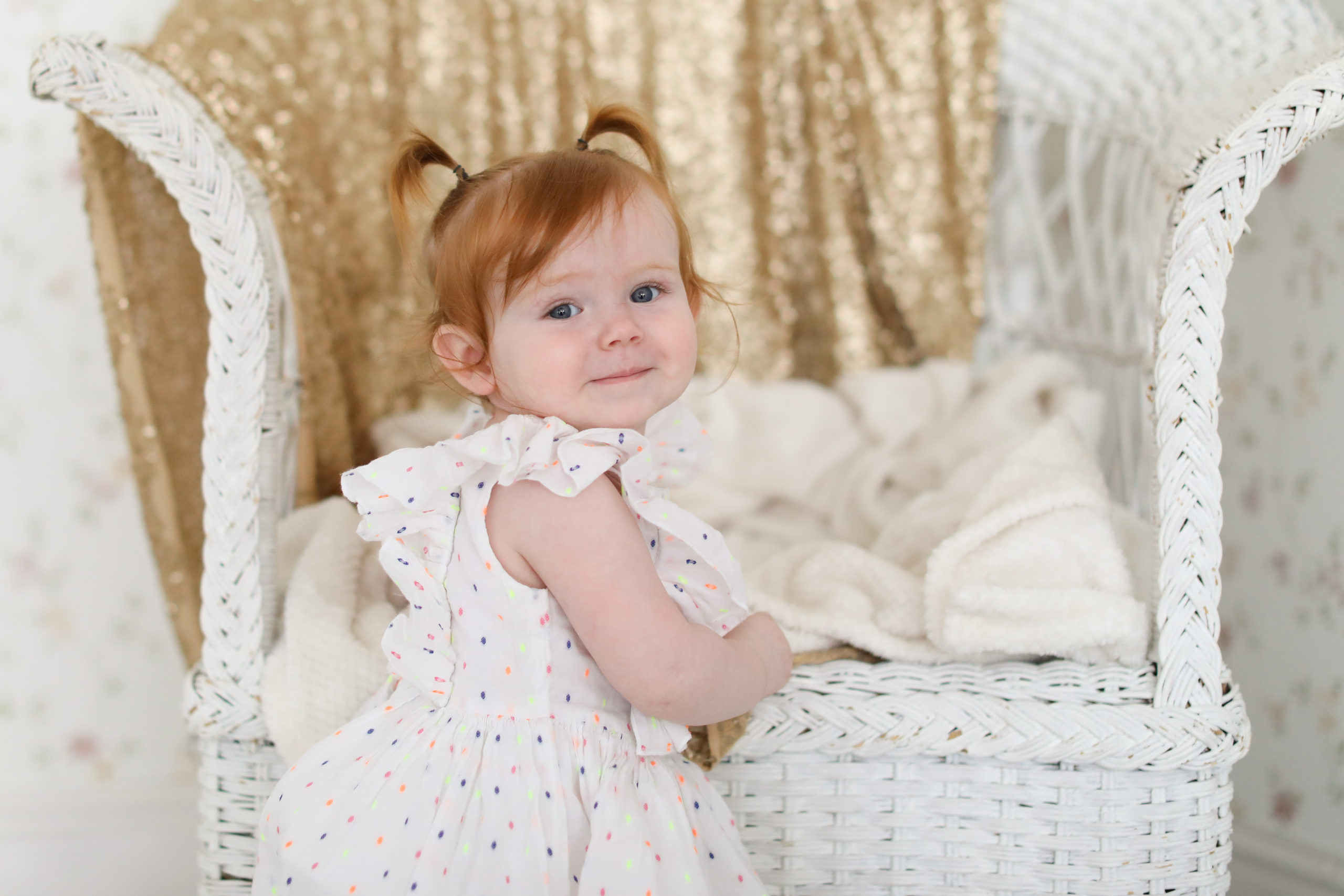gold glitter baby photography